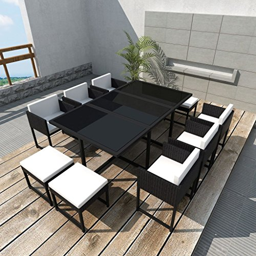 vidaXL-27-pcs-Patio-Black-Rattan-Garden-Seat-Dining-Set-Chair-Table-Glass-Wicker-0-0