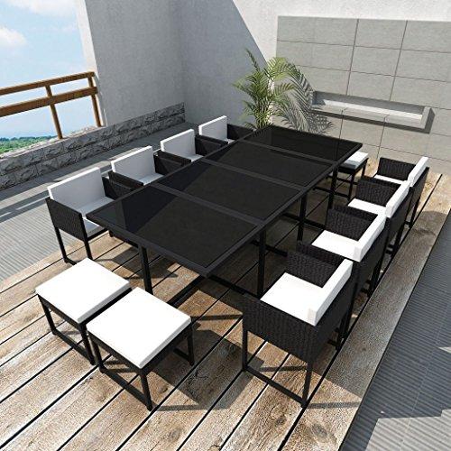 vidaXL-33-pcs-Patio-Black-Rattan-Garden-Seat-Dining-Set-Chair-Table-Glass-Wicker-0-0