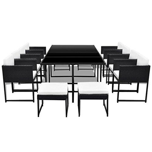 vidaXL-33-pcs-Patio-Black-Rattan-Garden-Seat-Dining-Set-Chair-Table-Glass-Wicker-0-1