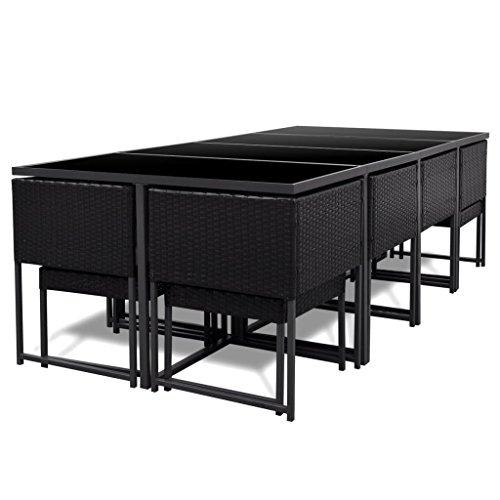 vidaXL-33-pcs-Patio-Black-Rattan-Garden-Seat-Dining-Set-Chair-Table-Glass-Wicker-0-2