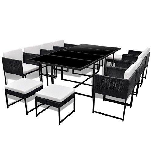 vidaXL-33-pcs-Patio-Black-Rattan-Garden-Seat-Dining-Set-Chair-Table-Glass-Wicker-0