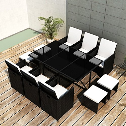 vidaXL-Outdoor-Dining-Set-27-Piece-Poly-Rattan-Wicker-Black-Garden-Table-Chair-0-0