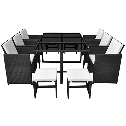 vidaXL-Outdoor-Dining-Set-27-Piece-Poly-Rattan-Wicker-Black-Garden-Table-Chair-0-1