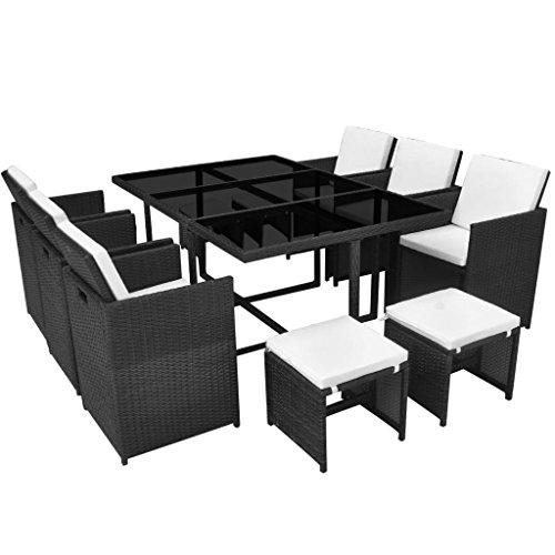 vidaXL-Outdoor-Dining-Set-27-Piece-Poly-Rattan-Wicker-Black-Garden-Table-Chair-0