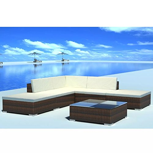 vidaXL-Outdoor-Lounge-Set-Poly-Rattan-Wicker-Brown-Sectional-Sofa-Set-Couch-0-0