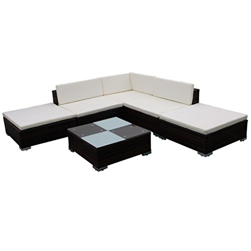 vidaXL-Outdoor-Lounge-Set-Poly-Rattan-Wicker-Brown-Sectional-Sofa-Set-Couch-0