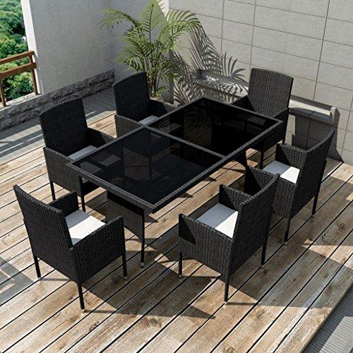 vidaXL-Patio-Rattan-Wicker-Garden-Seater-Dining-Set-6-Chair-Table-Glass-Black-0-0
