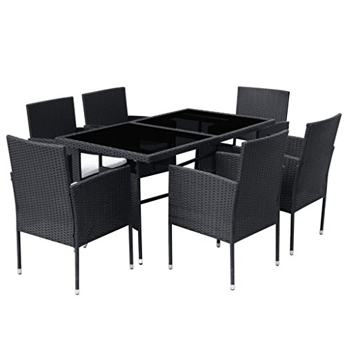 vidaXL-Patio-Rattan-Wicker-Garden-Seater-Dining-Set-6-Chair-Table-Glass-Black-0-1