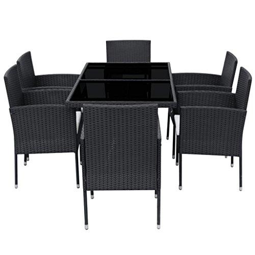 vidaXL-Patio-Rattan-Wicker-Garden-Seater-Dining-Set-6-Chair-Table-Glass-Black-0-2