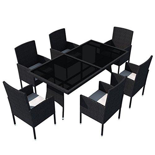 vidaXL-Patio-Rattan-Wicker-Garden-Seater-Dining-Set-6-Chair-Table-Glass-Black-0