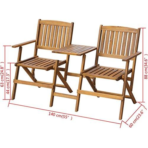 vidaXL-Patio-Solid-Acacia-Wooden-Folding-Bench-Table-Garden-Balcony-2-Seats-0-2