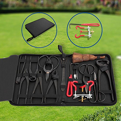 14Pcs-Bonsai-Tools-Kit-Set-Carbon-Steel-Cutter-Scissors-Shears-Tree-Nylon-Case-0-1