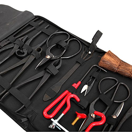 14Pcs-Bonsai-Tools-Kit-Set-Carbon-Steel-Cutter-Scissors-Shears-Tree-Nylon-Case-0-2