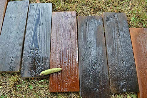 2-Molds-Old-Wooden-Boards-Concrete-Mould-Garden-Stepping-Stone-Path-Patio-S05-0