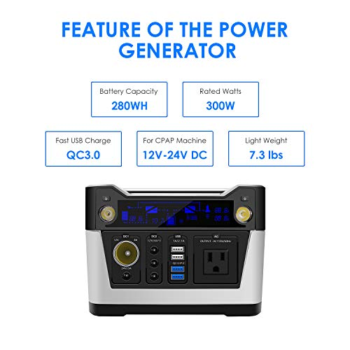 280WH-Portable-Generator-75000mAh-Rechargeable-Lithium-Battery-Pack-USB30-12V24V-DC-CPAP-Solar-Generator-Power-Station-with-110V-AC-Outlet-Backup-EmergencyHurricane-Storm-and-OutageCamping-0-1