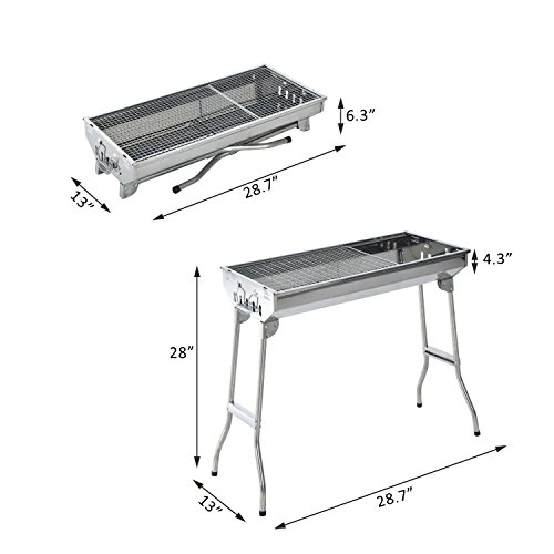 29-BBQ-Charcoal-Grill-Stainless-Steel-Fordable-Backyard-Cooker-Silver-0-0