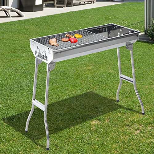 29-BBQ-Charcoal-Grill-Stainless-Steel-Fordable-Backyard-Cooker-Silver-0-1