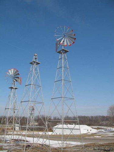30-Ft-Made-in-the-USA-Premium-Aluminum-Decorative-Garden-Windmill-red-Trim-0-1