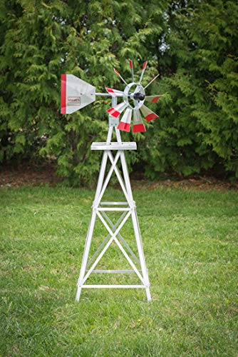 4-Ft-Premium-Aluminum-Decorative-Garden-Windmill-Red-Trim-0