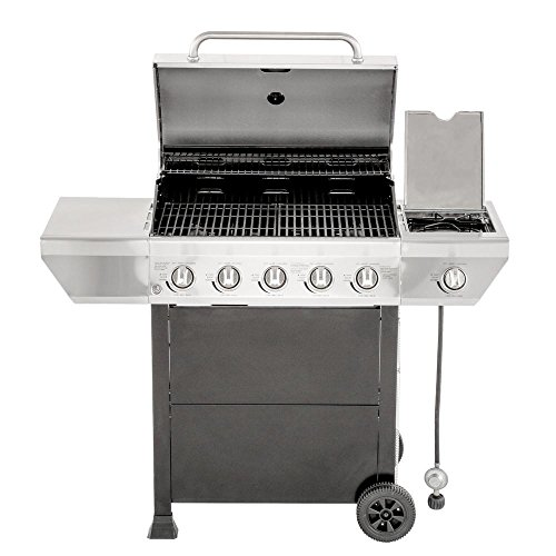 5-Burner-Propane-Gas-Grill-in-Stainless-Steel-with-Side-Burner-and-Black-Cabinet-0-0
