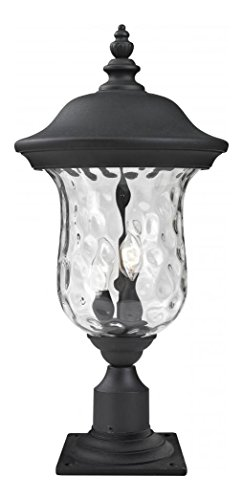 533PHM-533PM-BK-Black-Armstrong-2-Light-Outdoor-Pier-Mount-Light-with-Clear-Water-Glass-Shade-0