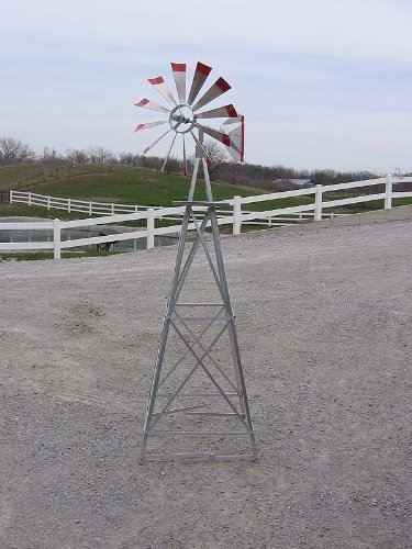 6-Ft-Premium-Aluminum-Decorative-Garden-Windmill-Green-Trim-0