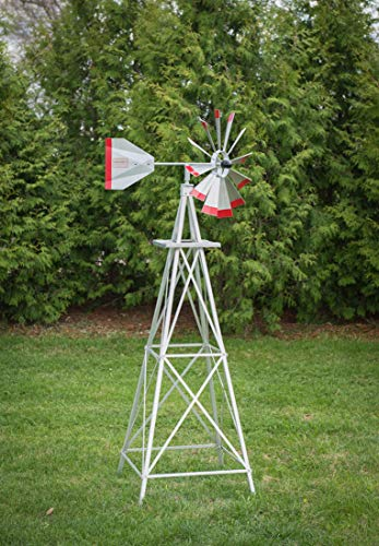6-Ft-Premium-Aluminum-Decorative-Garden-Windmill-Red-Trim-0