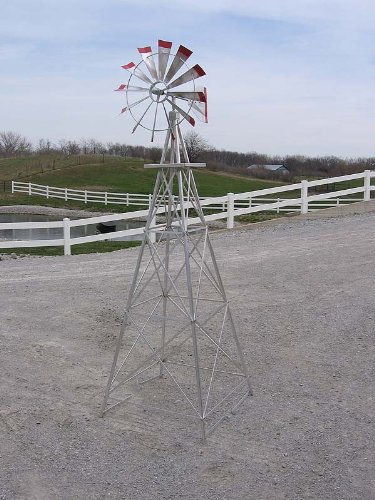8-Ft-Premium-Aluminum-Decorative-Garden-Windmill-Green-Trim-0