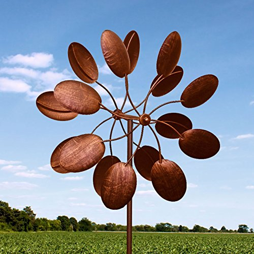 84-Big-Modern-Art-Kinetic-Wind-Sculpture-Brushed-Copper-Finish-Dual-Spinner-Pinwheel-0