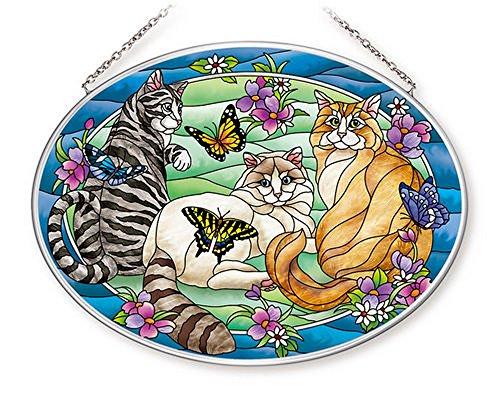 Amia-42628-Tiffany-Garden-Cat-Large-Glass-Suncatcher-9-Long-Multicolored-0