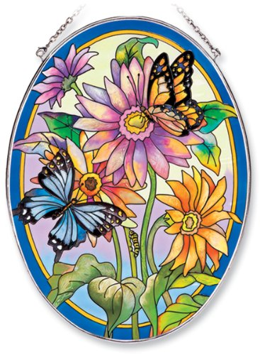Amia-Oval-Suncatcher-with-Daisy-and-Butterfly-Design-Hand-Painted-Glass-6-12-Inch-by-9-Inch-0
