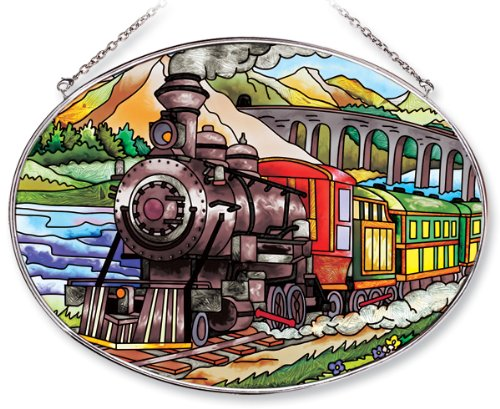 Amia-Oval-Suncatcher-with-Train-Design-Hand-Painted-Glass-6-12-Inch-by-9-Inch-0