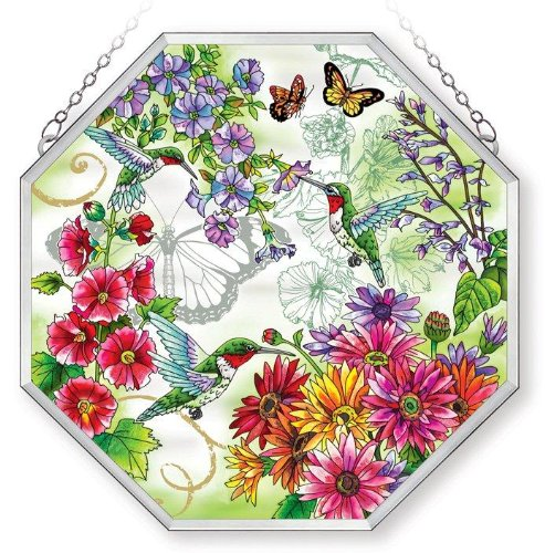 Amia-Window-Decor-Panel-Ripple-Glass-with-Polished-Aluminum-Frame-Butterfly-Design-15-by-15-Inch-Octagon-0