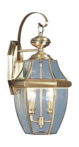 Antique-Brass-2-Light-120W-Outdoor-Wall-Sconce-with-Candelabra-Bulb-Base-and-Clear-Beveled-Glass-from-Monterey-Series-0
