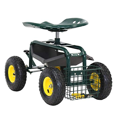 ArmPro-Garden-Cart-Rolling-Work-Seat-with-Tool-Tray-and-Storage-Basket-360-Degree-Swivel-Seat-300-Lbs-Weight-Capacity-0