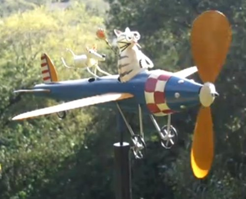 Aviator-Cat-Mouse-Kinetic-Garden-Art-Sculpture-Wind-Spinner-Outdoor-Vintage-Style-Airplane-0-0