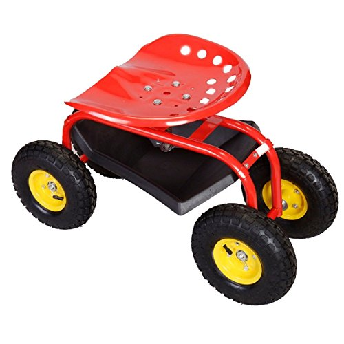 AyaMastro-Red-Rolling-Garden-Cart-Work-Seat-Contoured-Adjust-Height-w360-Degree-Swivel-0