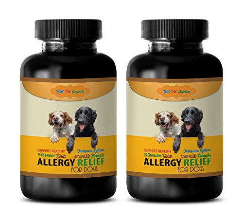 BEST-PET-SUPPLIES-LLC-allergy-dog-treats-ADVANCED-ALLERGY-RELIEF-FOR-DOGS-ONLY-HEALTHY-IMMUNE-RESPONSE-CHEWABLE-licorice-root-for-dogs-150-Chews-2-Bottle-0