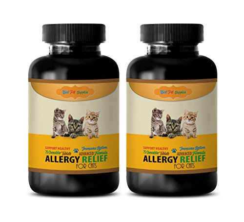 BEST-PET-SUPPLIES-LLC-anti-itch-cats-HEALTHY-ALLERGY-RELIEF-FOR-CATS-ADVANCED-IMMUNE-SUPPORT-FORMULA-CHEWABLE-cat-allergy-reducer-150-Chews-2-Bottle-0