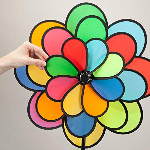 Bits-and-Pieces-20-Nylon-Triple-Flower-Wind-Spinner-Three-Tiered-Rainbow-Petal-Wind-Spinner-for-Your-Yard-or-Garden-0-2