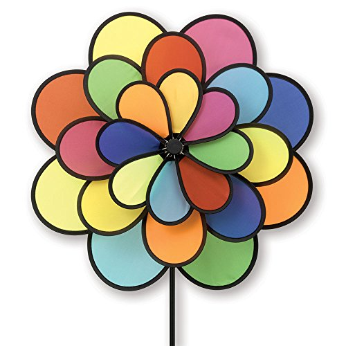 Bits-and-Pieces-20-Nylon-Triple-Flower-Wind-Spinner-Three-Tiered-Rainbow-Petal-Wind-Spinner-for-Your-Yard-or-Garden-0