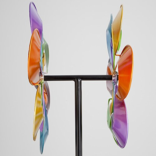Bits-and-Pieces-Prismatic-Posy-Wind-Spinner-Decorative-Kinetic-Wind-Mill-Unique-Outdoor-Lawn-and-Garden-Dcor-Lawn-Ornament-0-2