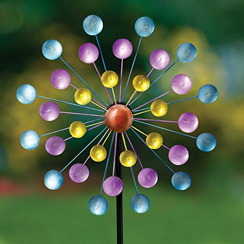 Bits-and-Pieces-Set-of-Two-2-Dots-and-Paddle-Mini-Wind-Spinners-Decorative-Kinetic-Wind-Mills-Unique-Outdoor-Lawn-and-Garden-Dcor-Lawn-Ornaments-0-0