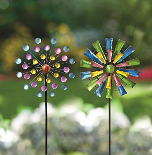 Bits-and-Pieces-Set-of-Two-2-Dots-and-Paddle-Mini-Wind-Spinners-Decorative-Kinetic-Wind-Mills-Unique-Outdoor-Lawn-and-Garden-Dcor-Lawn-Ornaments-0