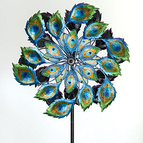 Bits-and-Pieces-Solar-Peacock-Wind-Spinner-Decorative-Solar-Powered-Kinetic-Wind-Mill-Glass-Ball-Emits-Color-Changing-Light-Unique-Outdoor-Lawn-and-Garden-Dcor-Lawn-Ornament-0