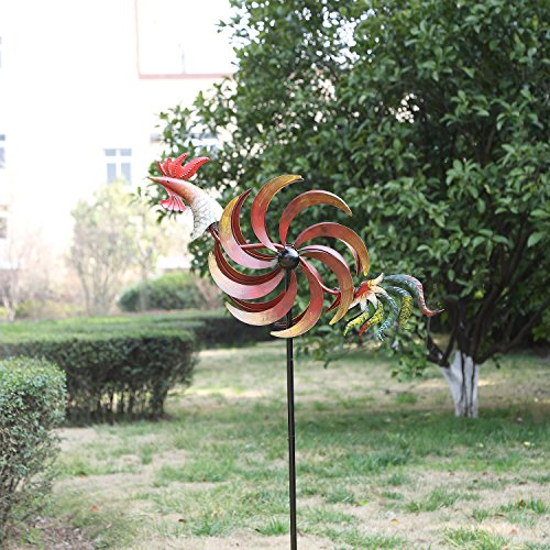 CEDAR-HOME-Wind-Spinner-Twirler-Sculpture-Garden-Stake-Outdoor-Metal-Stick-Art-Ornament-Flaming-Rooster-Figurine-Decor-for-Lawn-Yard-Patio-31-W-x-7-D-x-64-H-0-0