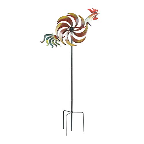 CEDAR-HOME-Wind-Spinner-Twirler-Sculpture-Garden-Stake-Outdoor-Metal-Stick-Art-Ornament-Flaming-Rooster-Figurine-Decor-for-Lawn-Yard-Patio-31-W-x-7-D-x-64-H-0