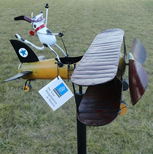 CHSGJY-Aviator-Spike-Whirligig-Airplane-Dog-Wind-Powered-Spinner-Vintage-Style-Plane-Yard-Garden-Outdoor-Living-Decor-0-1