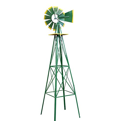COLIBROX-8FT-Green-Metal-Windmill-Yard-Garden-Decoration-Weather-Rust-Resistant-Wind-Mill-Garden-Metal-Ornamental-Wind-Mill-Weather-Vane-Weather-Resistant-Green-0-0