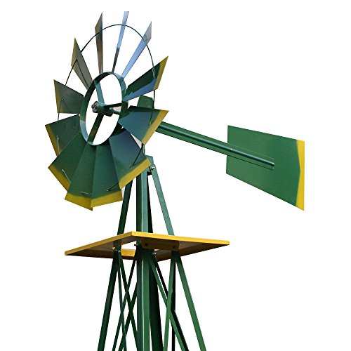 COLIBROX-8FT-Green-Metal-Windmill-Yard-Garden-Decoration-Weather-Rust-Resistant-Wind-Mill-Garden-Metal-Ornamental-Wind-Mill-Weather-Vane-Weather-Resistant-Green-0-1